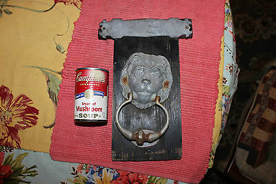 Vintage Lion Head Door Knocker Mounted On Wood-Metal Lion Head Knocker-LQQK 6