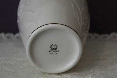 "Lovely Lenox Usa Ivory 8"" Vase Embossed Flowers With Gold Trim 3"