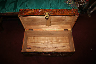 11 Of 12 Antique Chinese Wood Carved Large Storage Chest Trunk Dragons U0026  Men Detailed
