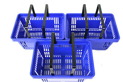 Pack of 20 x 2 Handle Blue Plastic Shopping Basket Retail Supermarket Use 6