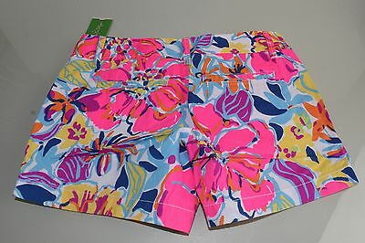 $64 NEW Lilly Pulitzer Callahan Short Shorts Multi Let Minnow Coral Blue 00 XXS