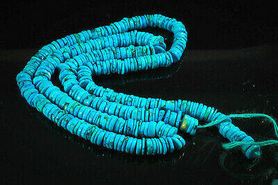 Wonderful Top Grade Antique Hieshi Natural Turquoise Beads Disc Egyptian Strand 2