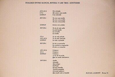 """Serigrafía de Manuel Rivera, La sombra os masturba. """"Dialogo entre MR 12"""