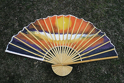 "VINTAGE ASIAN BAMBOO/CLOTH WALL FAN 60"" x 35"" HAND PAINTED ASIAN SUNRISE CRANES"
