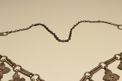 Rare Post Medieval Unique Hand Made Low Sample Silver Necklace With Crosses 8