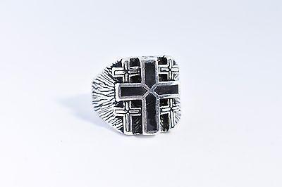 Noire et Argent JewelryWe Bague de pri/ère pour Hommes Sainte-Croix Tailles 57-72 en Acier Inoxydable