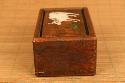 Chinese wood hand carving cow statue inlay conch box secret button open rare 4