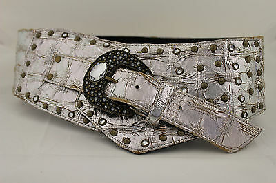 Women Belt Metallic Silver Faux Leather Wide Western Waist Fashion Buckle S M L