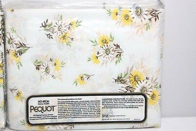 Vintage Never opened Hot mustard  yellow NIP FlatDouble Sheet by Pequot