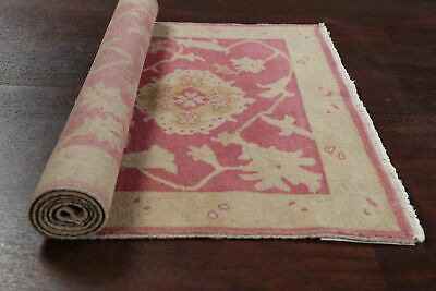 Antique Look PINK Oushak Egyptian All-Over Rug Vegetable Dye Hand-Knotted 3'x5' 7