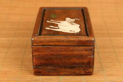 Chinese wood hand carving cow statue inlay conch box secret button open rare 8