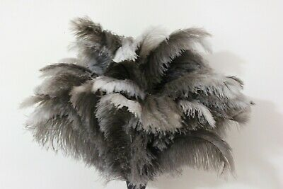 One white first grade ostrich feather duster wood shaped stained handle 90cm