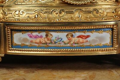 Japy Freres ~ Early French Ormolu And Sevres Porcelain Clock Set C1850 ~ Cherubs 12