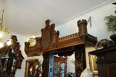 19C English Gothic Carved Oak Castle/Battlement Architectural Fantasy Pediment 8
