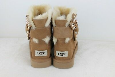 c36a56eee83 UGG MINI BAILEY Bow Brilliant Chestnut Bling Suede Sheepskin Boots Size 5 Us