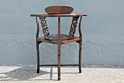 ASIAN EARLY 20thc HIGHLY CARVED- MAJORLY DECORATIVE CORNER CHAIR 10