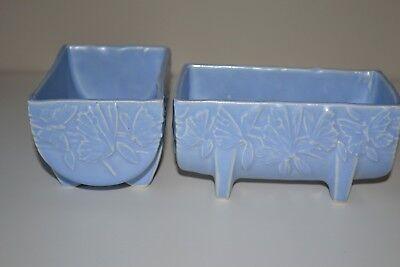 "Vintage McCoy Pottery Butterfly Blue Planter  Matte Blue 5 1/2"" 1930s 2"