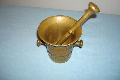 Antique  Brass Mortar & Pestle 7