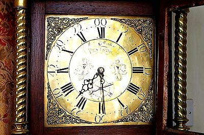 Antique Mosley, Peniston Yorkshire, 18th Century Carved Oak Grandfather Clock 2