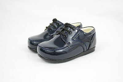 Baby Boys Formal Shoes Laces Patent Wedding PageBoy Christening Black or Cream