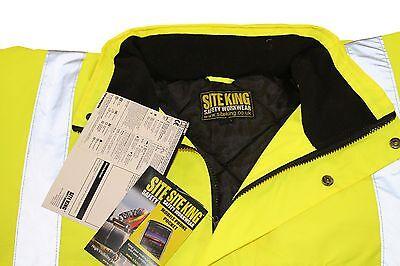 Mens Hi Vis Work Padded Bomber Jacket Coat By SITE KING - HIGH VISABILITY W2363 2