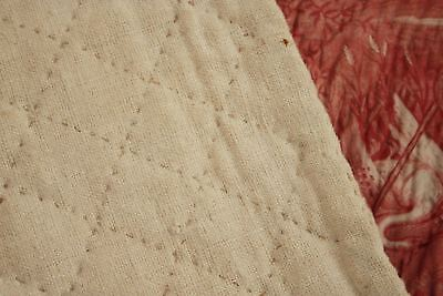Antique French toile de Normandy c 1820 red quilted textile linen backed 6