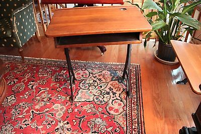 Antique School Desk with Original Inkwell and Folding Seat 3