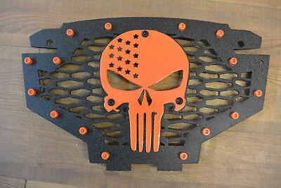 Skull Flame Orange Radiator Grill Cover fits 11-14 Polaris RZR 900