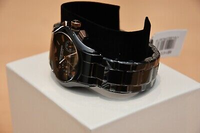 New Emporio Armani Men's Watch Ar1410 Black/Rose Gold Ceramica Chronograph 8