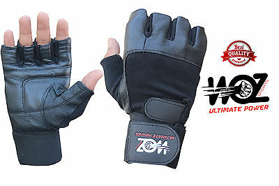 Leather Gym Gloves Weight Lifting Gloves Body Building Training Exercise Workout 2