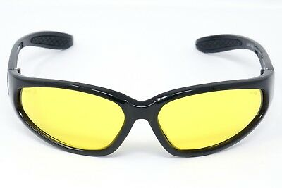 Unbreakable Yellow Tinted motorcycle UV400 sunglasses biker glasses + Free Pouch