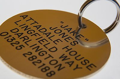 Quality Engraved Pet tag -Large 38mm circle Brass tag 3 • EUR 6,51