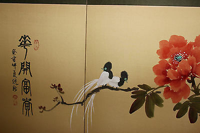 f97e2bfa7c76e ... Vintage Chinese Japanese 4 Panel Hand Painted Room Divider-Birds  Flowers-Signe 12