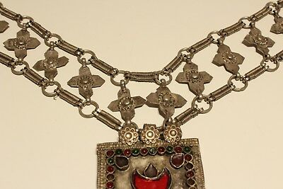 Rare Post Medieval Unique Hand Made Low Sample Silver Necklace With Crosses 5