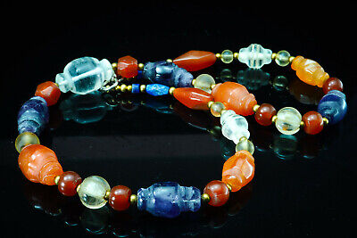 Assortment Ancient Beads Collared Bicone Carnelian Amethyst Crystal Necklace 3