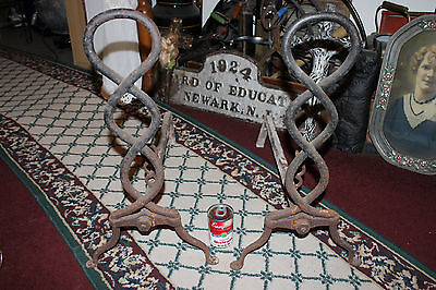 Antique Cast Iron Fireplace Andirons-Unusual Twisted DNA Strand-Large Andirons 8