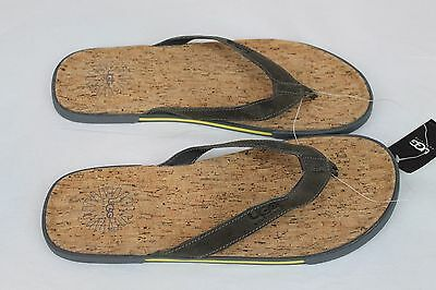 a568ce74146 UGG BENNISON II Leather Cork Men's Flip Flops Thongs Metal Gray Size 7 US