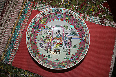 Chinese Famille Rose Bowl W/Colorful Scenes Of Women & Flowers-Marked Bottom