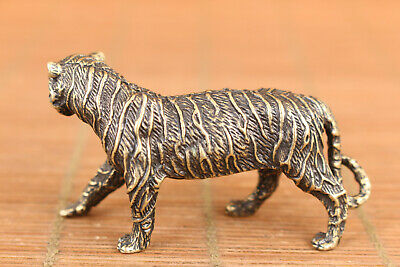 rare chinese old bronze art tiger statue figure collectable good stand 4