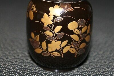 VTG Japanese wooden lacquer Gold makie Natsume tea caddy w/box from Japan b098 5