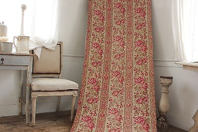 Fabric Antique Floral French printed cotton circa 1860 twill weave muted tones 6
