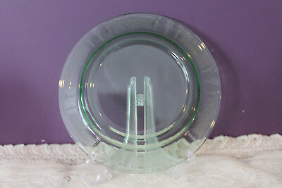 """Green Glass Etched 9-3/8"""" Plate - Very Ornate 5"""