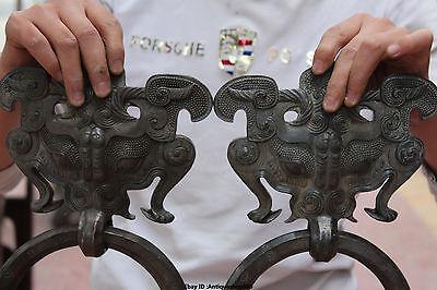 "13"" Chinese FengShui Purple Bronze Guardion Beast Animal BiXie Door Knocker Pair 9"