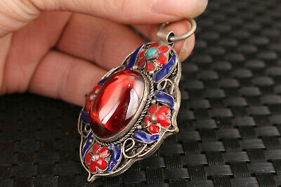 chinese old jade red stone jewel inlay cloisonne tibet silver pendant 4