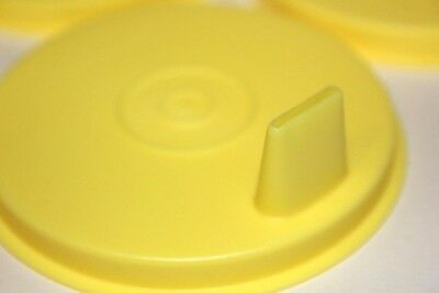 Tupperware Sipper Sippy Seals Set of 4 Flat Yellow G Bell Tumbler Lids 1552 Rare 3