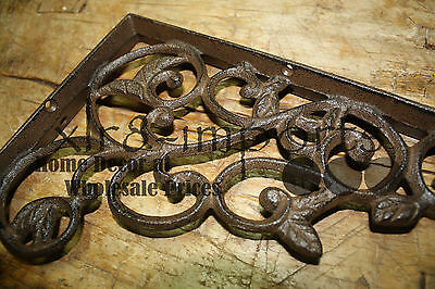 6 Cast Iron Antique Style LEAVES & VINE Brackets, Garden Braces Shelf Bracket
