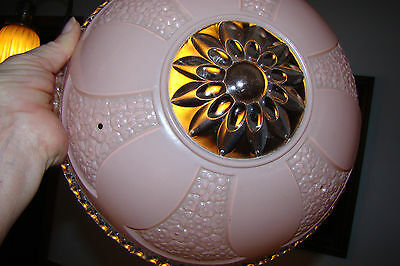 Vintage Antique Pink Glass Clear Ring Shade Ceiling Light Fixture 3-hole Hangers 2