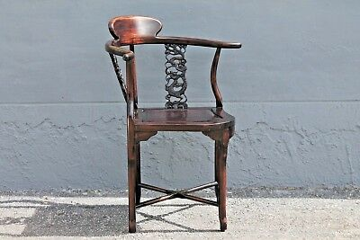 ASIAN EARLY 20thc HIGHLY CARVED- MAJORLY DECORATIVE CORNER CHAIR 7