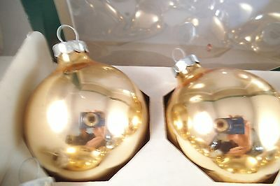 Vintage Set Of 9 Mercury Glass Christmas Ornaments Gold Rauch C