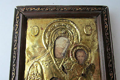 Antique Russian icon with gilded brass oklad (Riza) Virgin and Child 2